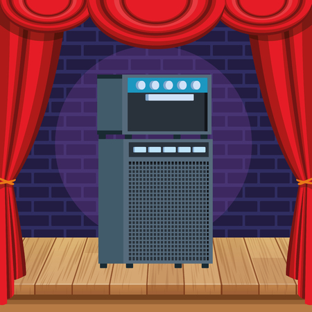 amplifier equipment icon cartoon on stage vector illustration graphic design