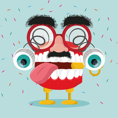 April fools day glasses mustache and nose with teeth joke cartoons vector illustration graphic design