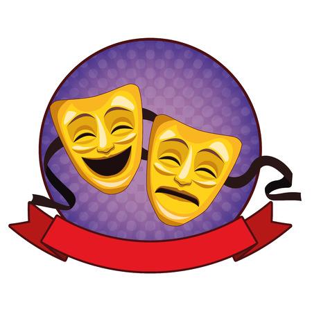 Dibujos animados de icono de máscara de teatro con cinta y diseño gráfico de ilustración de vector de icono redondo Ilustración de vector