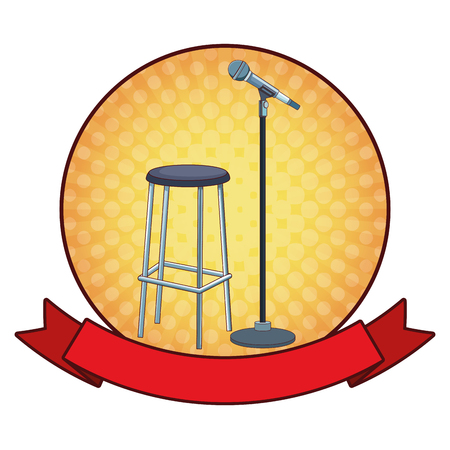 microphone and chair icon cartoon with ribbon round icon vector illustration graphic design