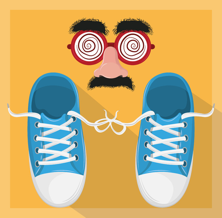 April fools day shoes and glasses mask joke cartoons   vector illustration graphic design