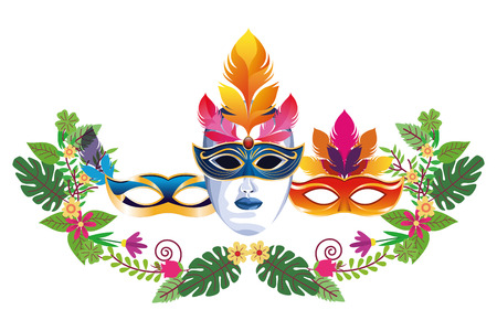 set of masks with feathers floral arrangement icon cartoon vector illustration graphic design Ilustração