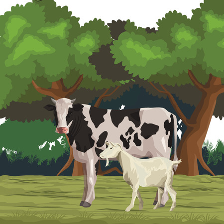 cow and goat icon cartoon wild landscape vector illustration graphic design