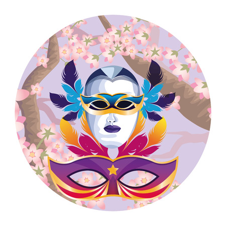 masks with feathers icon cartoon branch and blossom background round icon vector illustration graphic design