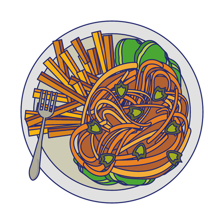 Spaghetti and french fries with fork food vector illustration graphic design Иллюстрация
