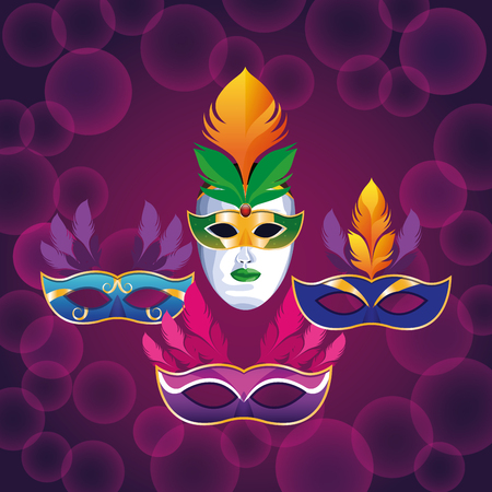 set of masks with feathers bubble background icon cartoon vector illustration graphic design Illustration