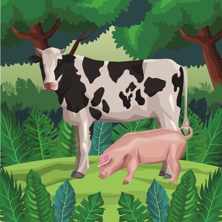 cow with pig icon cartoon wild landscape vector illustration graphic design