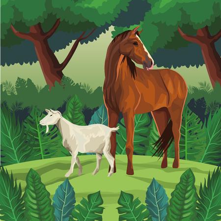horse and goat icon cartoon wild landscape vector illustration graphic design Vettoriali