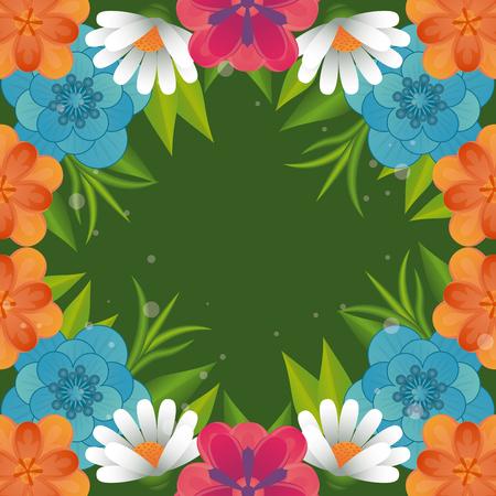Floral frame carte colorée vierge vector illustration graphic design