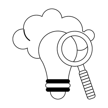 Magnifying glass on bulb light with cloud vector illustration graphic design Illustration