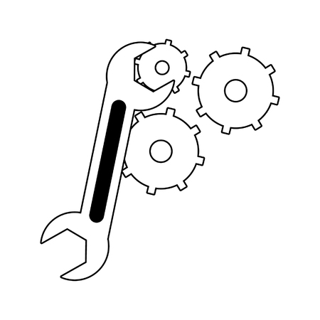 Wrench with gears symbol vector illustration graphic design