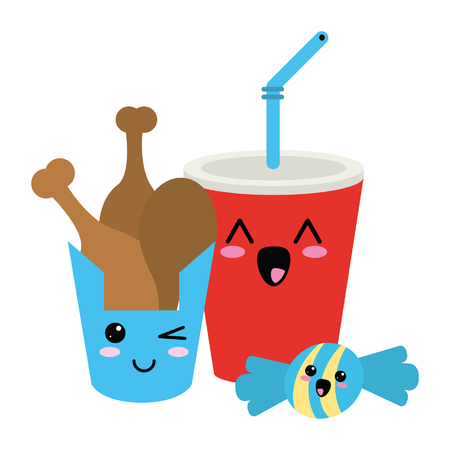 Fast food kawaii chicken thigh and soda with candy cartoon vector illustration graphic design