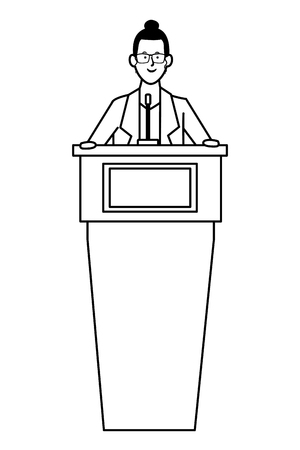 woman in a podium making a speech wearing glasses black and white vector illustration graphic design Ilustração