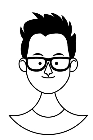 young man with glasses face cartoon vector illustration graphic design