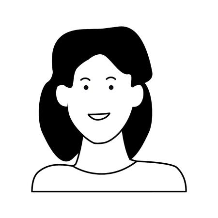 Woman smiling abstract cartoon profile vector illustration graphic design Illustration