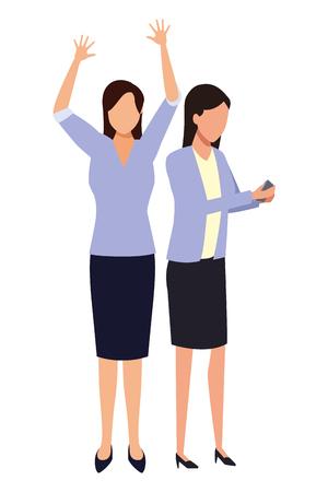 Businesswomen using smartphone cartoon vector illustration graphic design Illustration