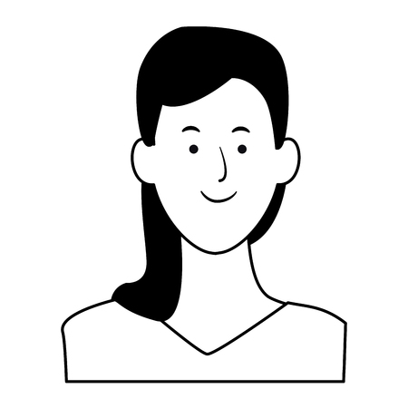 woman portrait avatar cartoon character black and white vector illustration graphic design