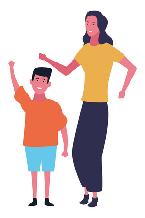 Family mother and son dancing vector illustration graphic design