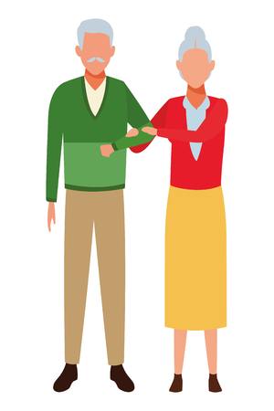 old couple avatars arm holding vector illustration graphic design Stock Illustratie
