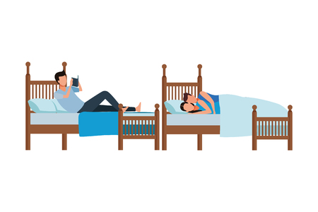 twin dormitory and couple coodle bed vector icon illustration graphic design Stock Illustratie