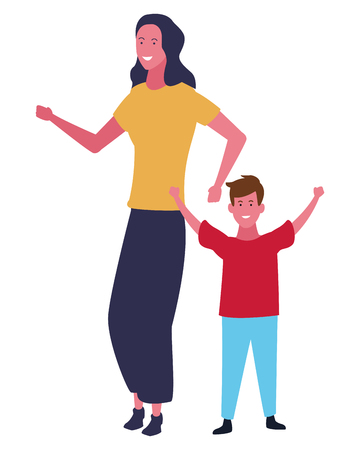 Family single mother with boy vector illustration graphic design