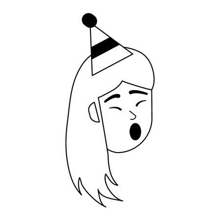 Mujer feliz cantando en diseño gráfico de ilustración de vector de dibujos animados de cumpleaños