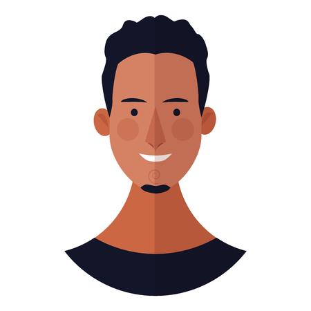 young man with beard face cartoon vector illustration graphic design Ilustração Vetorial
