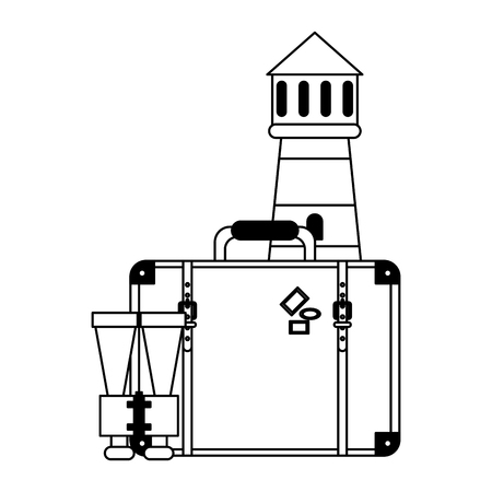 Vacations and travel lighthouse with suitcase and binoculars vector illustration graphic design Illustration