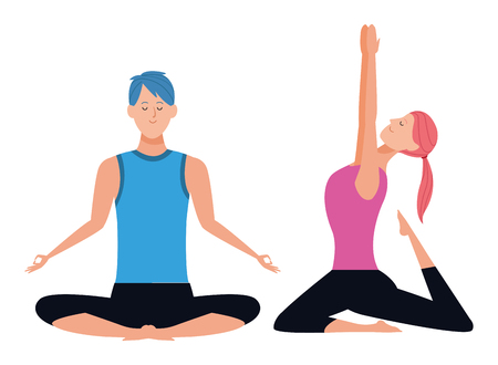 couple yoga poses avatars cartoon character with ponytail vector illustration graphic design Ilustração
