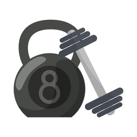 Ketlebell and dumbbell gym equipment for do exercise Ilustração