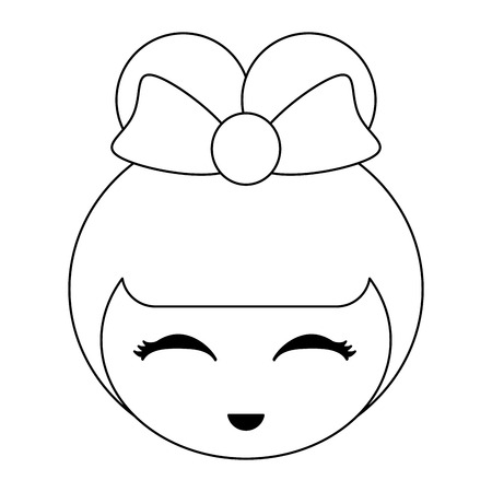 Japanese girl face cute cartoon vector illustration graphic design