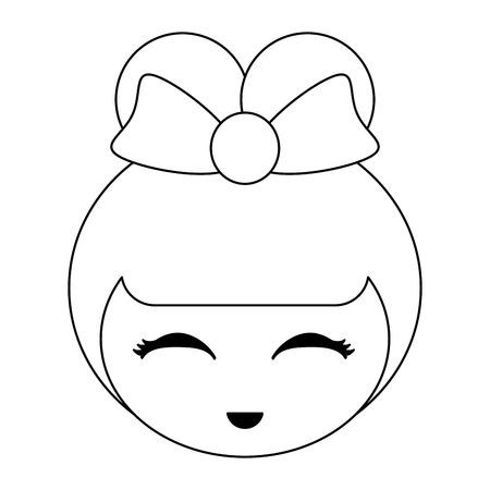 Japanese girl face cute cartoon vector illustration graphic design