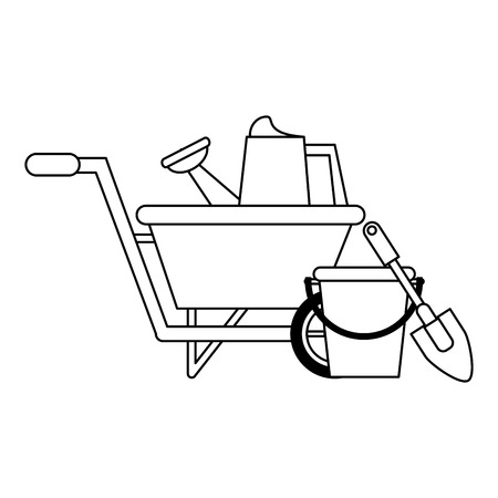 Gardening plants and tools bucket with shovel and wheelbarrow with water can Designe Illustration