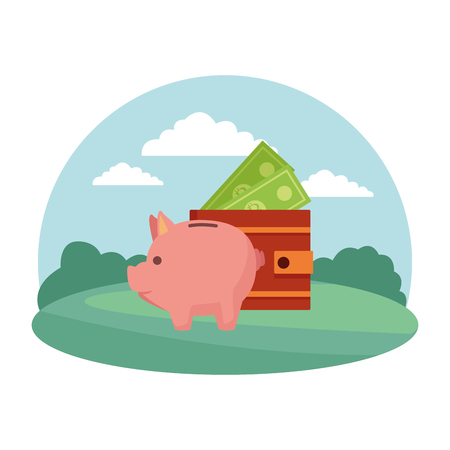 Piggy and wallet with money cartoon in the park scenery vector illustration graphic design