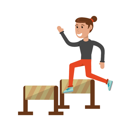 Athelete jumping barriers cartoon vector illustration graphic design