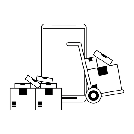 Online delivery from smartphone symbol vector illustration graphic design Stock Illustratie