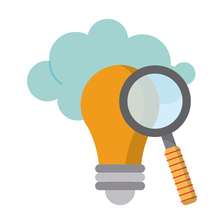 Magnifying glass on bulb light with cloud vector illustration graphic design