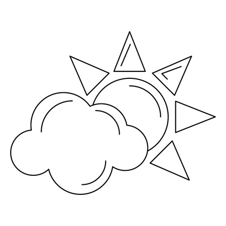 Sun and cloud symbol isolated vector illustration graphic design