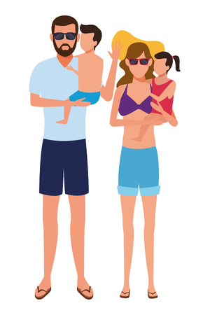 family avatar cartoon character wearing summer clothes swimwear and sunglasses vector illustration graphic design