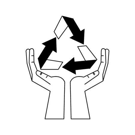 Recycle symbol on hands open symbol vector illustration graphic design