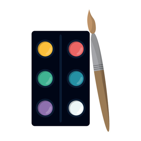 School utensils and supplies paint brush and palette