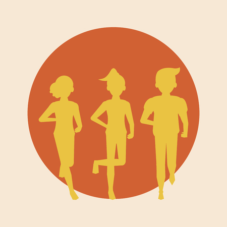 Fitness people running silhouette round icon vector illustration graphic design
