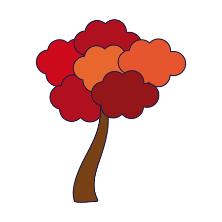 Tree with autumn leaves cartoon vector illustration graphic design