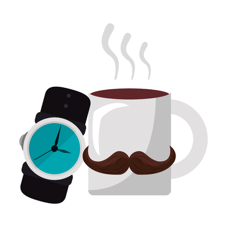 Wristwatch and hot coffee cartoon vector illustration graphic design