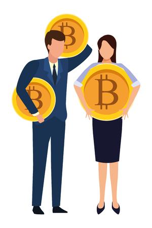 Business people with bitcoins avatars vector illustration graphic design Standard-Bild - 121094317