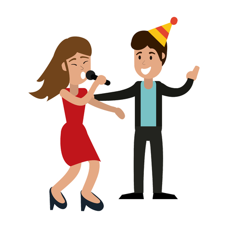 Couple singing karaoke in birthday party vector illustration graphic design