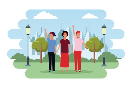 people avatars cartoon characters hand up open arms wearing hat headband  in the city park scenery 矢量图像