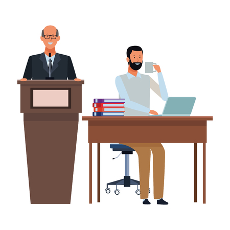 men in a podium and office desk wearing glasses vector illustration graphic design