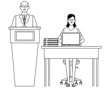couple in a podium and office desk wearing glasses black and white vector illustration graphic design Vettoriali