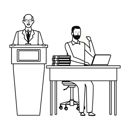 men in a podium and office desk wearing glasses black and white vector illustration graphic design